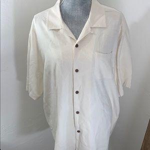 Tommy Bahama XL silk wood button short sleeve